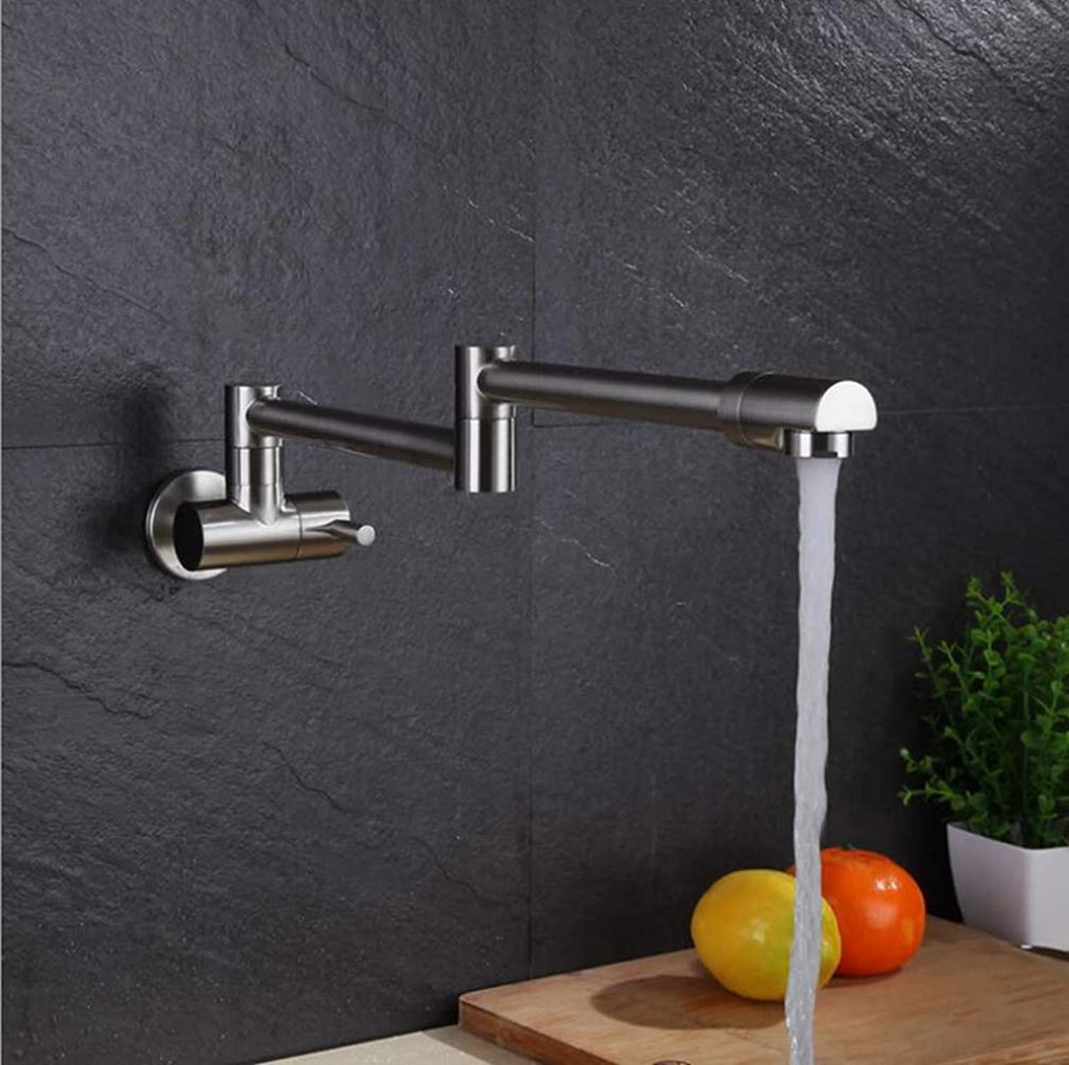 FZHLR 360 Degree Brass Foldable Wall Mounted Chrome∕Nickel∕Black Single Lever Kitchen Faucet Sink Basin Faucet Tap Mixer,C