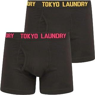 Tokyo Laundry Men's Booker (2 Pack) Black Boxer Shorts Set - Beetroot Pink / Lemon Chrome - XXL