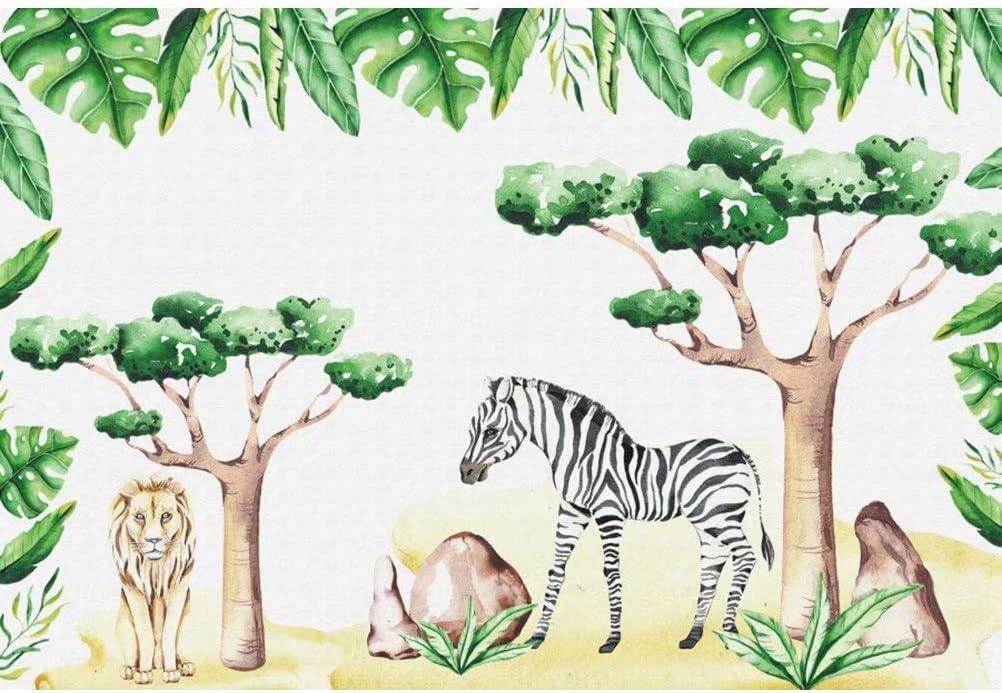 DaShan 14x10ft Jungle Safari Animals Backdrop Woodland Baby Shower Kids Children Jungle Theme Birthday Party Photography Background Tropical African Forest Kid Boy Newborn Portrait Photo Props