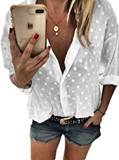 قمصان حريمي بأكمام طويلة من Abeaicoc بتصميم منقط واسع مقاس إضافي بأزرار