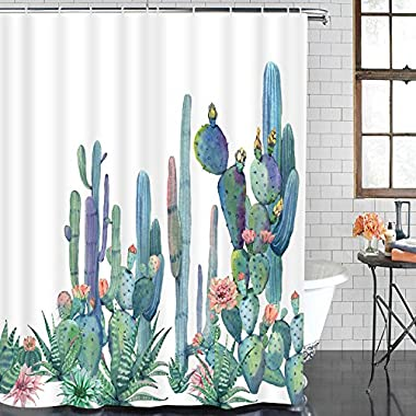 Smurfs Yingda Bathroom Shower Curtain Tropical Cactus Shower Curtains with 12 Hooks, Cactus Flowers Blossom Bath Curtain Durable Waterproof Fabric Bathroom Curtain (Cactus, 70  L × 69  W)