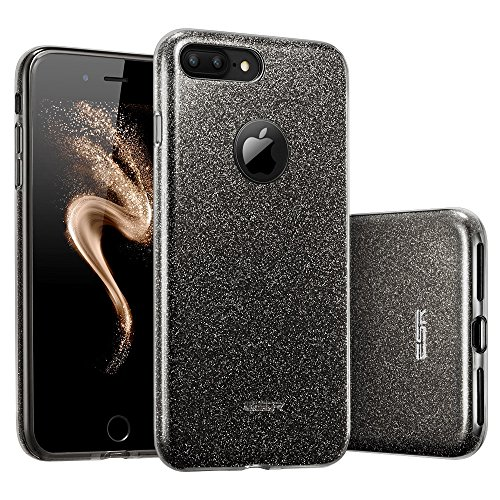 ESR iPhone 7 Plus Case,Glitter Sparkle Bling Case [Three Layer] for Girls Women [Shock-Absorption] for 5.5' iPhone 7 Plus(2016 Release)(Black)