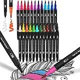 Dual Brush Pen Set,24 Pennarelli con Doppia Punta Fine,Colori Pennarelli Stabilo,Pennarelli a Doppia Punta Professionali,Colori Pennarelli Doppia Punta,Penne da Colorare per Adulti