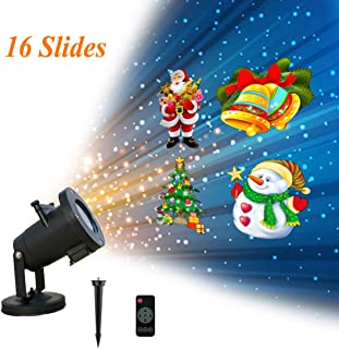Christmas Projector Lights Outdoor, Holiday Projector Lights for Christmas, Halloween, Birthday, Parties, Valentines Day, 16 Patterns