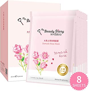 My Beauty Diary-Damask Rose Facial Mask, Softening and Brightening Collagen Essence Face Sheet Mask for Natural Look(8 Combo Pack)