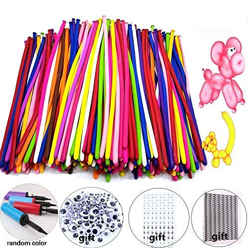 ddarbes Magic Balloons Kits, 300Pack Animal Ballooons Latex Modeling Twisting Balloons Long Balloons for Animal Shape Party, Clowns, Wedding Decoration(with Pump& Eye Sticker&Wiggle Eyes)
