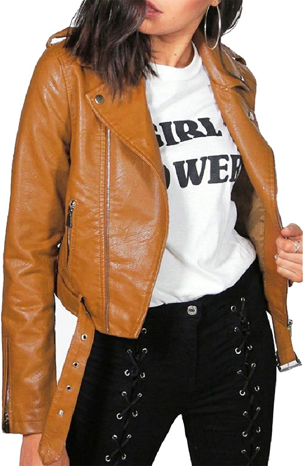 FieerWomen Turn Down Collar Solid with Zips Fitted Mini PU Leather Jackets