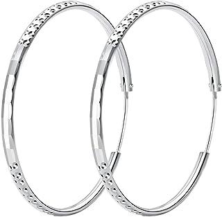fea917f31 T400 925 Sterling Silver Hoop Earrings Large Circle Endless Sleeper Hoops  for Women,Size: