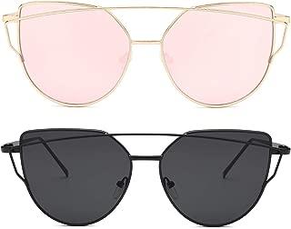 Sunglasses for Women Cat Eye Mirrored Transparent Flat...