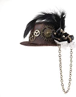 CHICTRY Steampunk Victorian Mini Top Hat Hair Clip with Feather cGears Chain for Halloween Carnival Cocktail Party