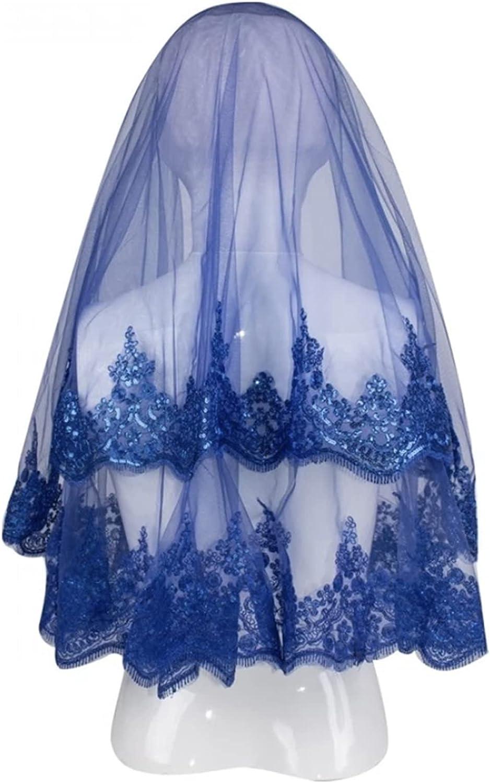 HAQTXI Women's Short Bridal Veil Set Night Wedding Ceremony Accessory Wire Break Lace Shimmer Claret Red Purple Green Sax Blue Fuchsia (Color : Sax Blue, Item Length : 150cm)