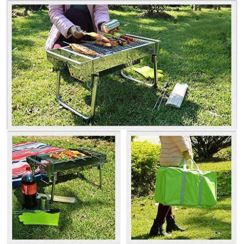 610UivuKAqL - YGB Grillzubehör im FreienPortable Barbecue Gril Faltbarer Holzkohlegrill im Freien 3-5 Geeignet für Gartenpicknicktour Camping Barbecue Silber