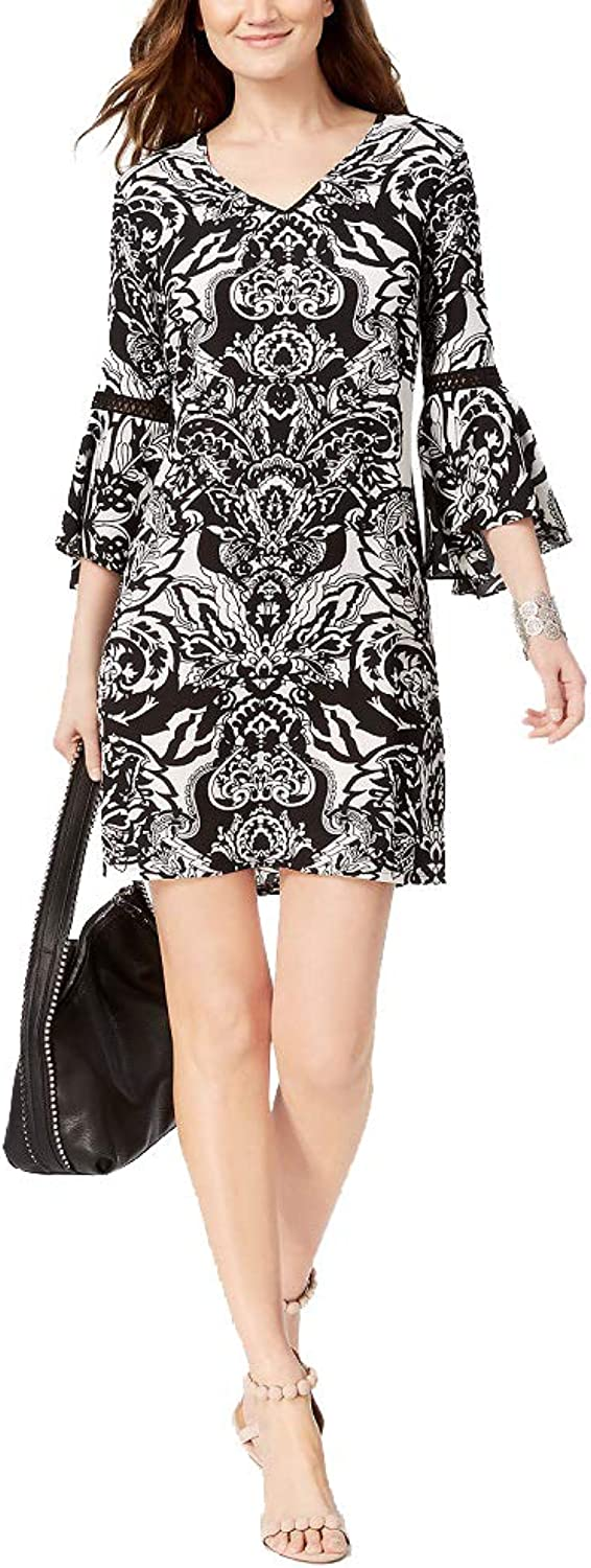 INC International Concepts I.N.C. Printed BellSleeve Dress