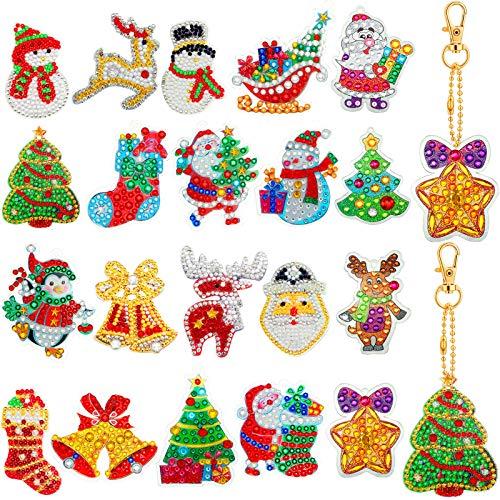 20 Pieces Christmas DIY Diamond Key Chain Kit Full Drill Rhinestone Mosaic Making Kit 5D Diamond Painting Key Chain Pendant Christmas Tree Santa Claus Diamond Key Ring for Christmas Arts Crafts Decor