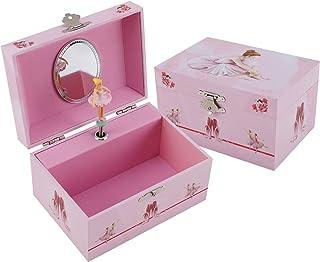 TAOPU Keepsake Musical Jewelry Box with Dancing Girl Music Box Jewel Storage Case for Girls (Light Pink Ballerina)