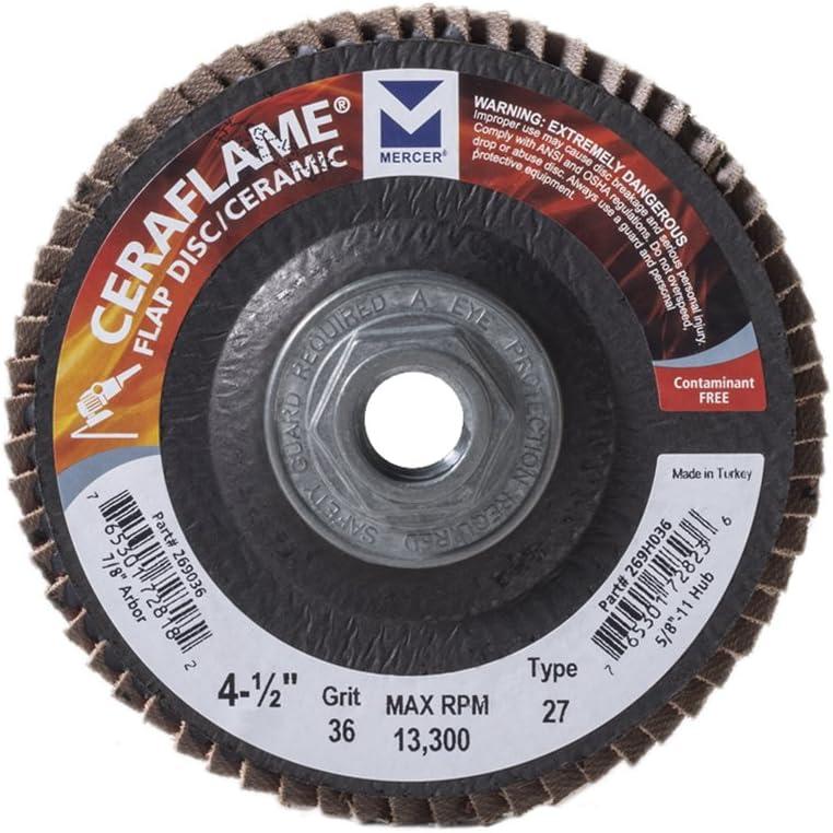 ファクトリーアウトレット 激安通販 Mercer Industries 269H036 Ceraflame Ceramic Type Flap 27 Discs
