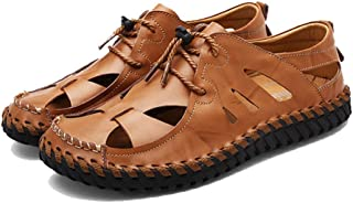 Femaroly Summer Men's Close Toe Sandals Leather Casual Breathable Cool Beach Shoes