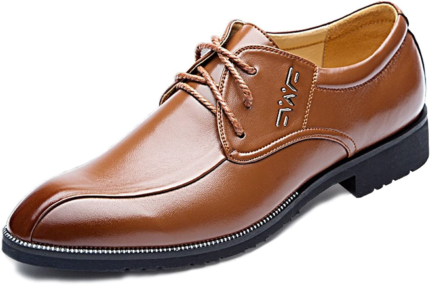 Men's Fashion Oxford shoes Men's PU Leather Fashion Casual Official Business Oxford shoes Heel Soft Sole Flats Casual Oxford shoes (color   Brown, Size   7.5 UK)