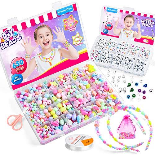 WuikerDuo Perline Fai da Te per Bambini Set,Bambini Perline Acrilico Colorati Kit Collane con Bracciale Gioielli per Bambini