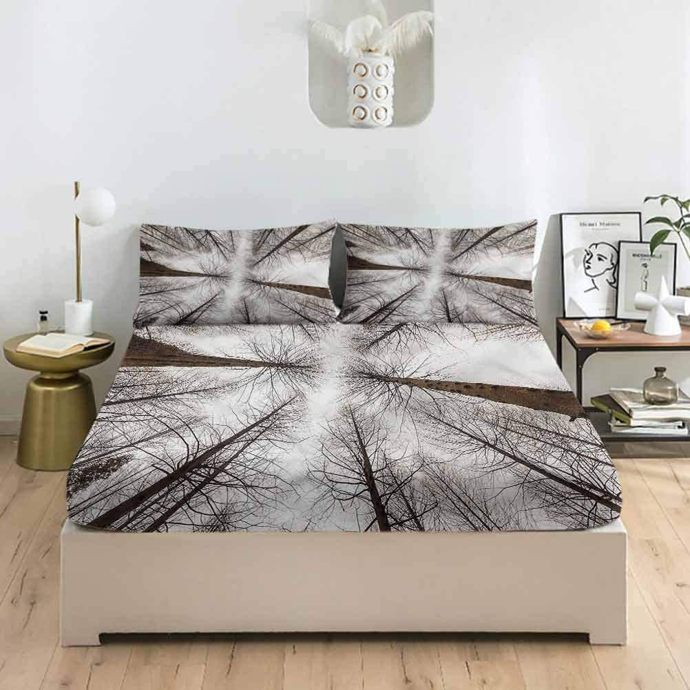 LCGGDB Forest Full Size Fitted Pillowcase Sheet Tree Sets Palm Cheap mail order specialty store Great interest