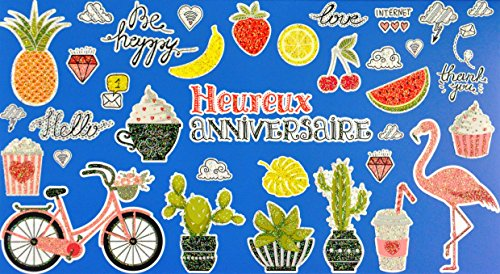 afie 69-4205 wenskaart voor verjaardag, pailletten, flamingo, watermeloen, aardbeien, citroen, kers, bananen, ananas, vitamine, koffie, drank, muffin, natuurcakteen, popcorn, diamant, palm blad