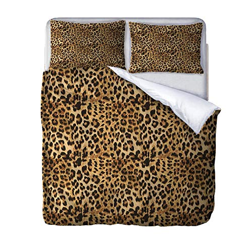 zzqxx Impreso Funda de edredón 135x200cm Leopardo 3D Funda nórdica Microfibra Juego de Cama Cremallera con 2 Funda de Almohada 50x75 cm Adulto Niños Dormitorio