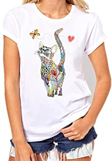 Fashion Women`s Casual T-Shirt Loose Short-Sleeved Leaf Print O-Neck Top