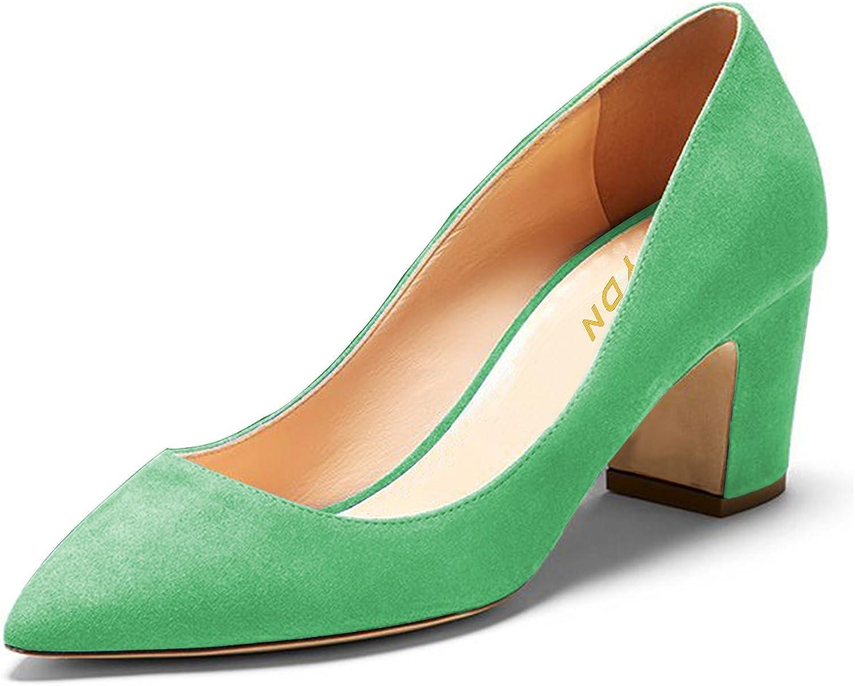 YDN Women Pointy Toe Block Low Heel Pumps Slip on Comfortable Office shoes