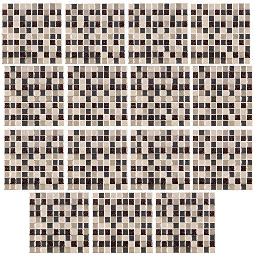 infactory Sticker für Fliesen: Selbstklebende 3D-Mosaik-Glitzer-Fliesenaufkleber, 26 x 26cm, 15er-Set (Fliesenimitat-Aufkleber)