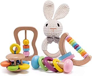 bopoobo Baby Wooden Rattle-5PCS Natural Crochet Bunny...