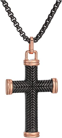 "Two-Tone Textured Cross Necklace with 18"" Box Chain"