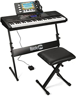 RockJam RJ761 61 Key Electronic Interactive Teaching Piano Keyboard with Stand, Stool, Sustain Pedal and Headphones (RJ761-SK