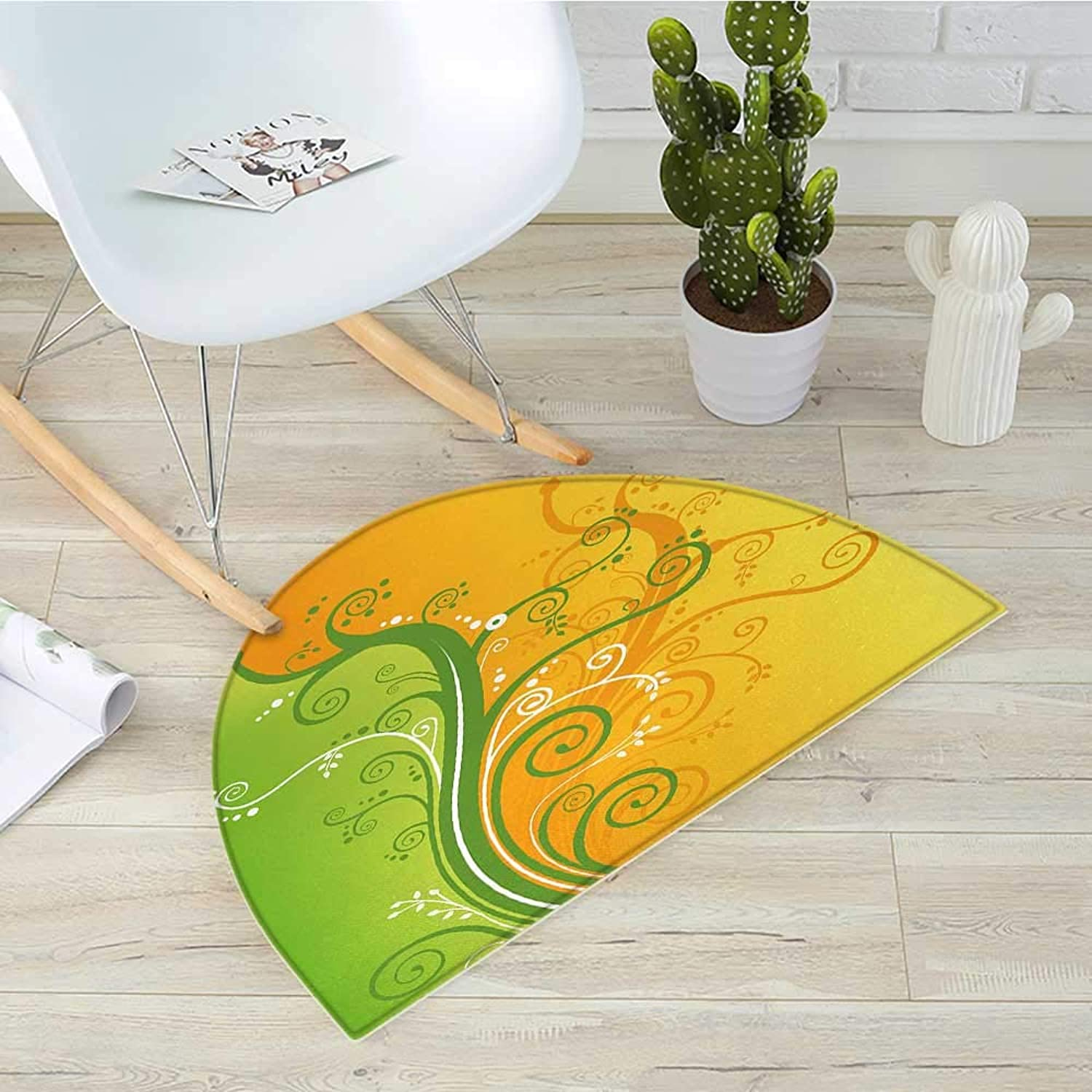 Modern Semicircular CushionFloral Flower Swirls Leaves on The Branches Design Modern Print Entry Door Mat H 39.3  xD 59  Light Green Marigold and White