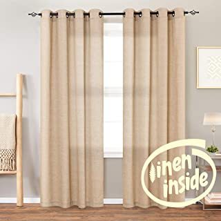 jinchan Linen Textured Curtains for Living Room Grommet Top Window Treatment Set for Bedroom 2 Panels 95 inches Long Taupe