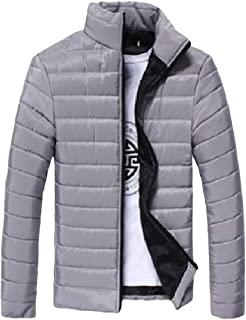 Howme-Men Long-Sleeve Stand Collar Zip Thickened Solid Warm Puffer Jacket