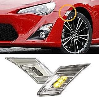 iJDMTOY JDM Clear Lens White/Amber LED Front Side Marker Light Kit For 2013-16 Scion FR-S, 13-19 Subaru BRZ, 17-up Toyota 86 (Parking Light: White LED, Turn Signals: Amber LED)