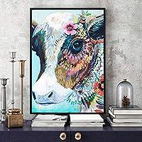 カラーカウ抽象的な家の装飾キャンバス壁アートポスターとリビングルームの絵画のプリントキャンバス