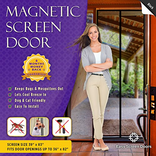Magnetic Screen Door, Mesh Curtain - Keeps Mosquitoes Out - Full Frame Velcro - Toddler and Dog Friendly - Fits Doors Up To 36 - Inch By 82 - Inch MAX