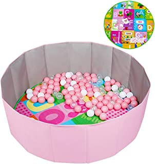 Ball Pit-SYY Folding Ball Pool Easy Carry Kid Toddler Outdoor Indoor Play Nursery Baby Playpen with Crawling mat Pink Green  Color Pink  Size D1m-100-Ocean balls
