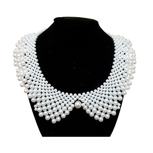 6b2bb00b2e20ac LANGUGU Vintage Detachable Blouse False Collar Faux Pearls Beaded Fake  Collar Choker Peter Pan Necklace Golden