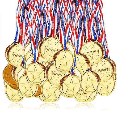 Caydo 150 Pieces Kids Children's Gold Plastic Winner Award Medals