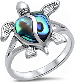 Oxford Diamond Co Simulated Abalone Shell Turtle .925 Sterling Silver Ring Sizes 4-11