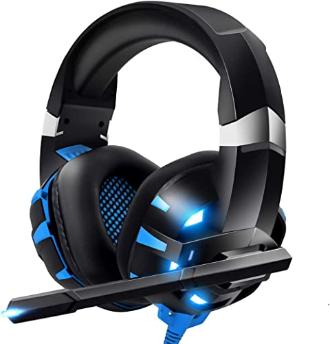 RUNMUS Gaming Headset Xbox One Headset PS4 Headset with Crystal Clear Mic & LED Light, Compatible with PC, PS4, Xbox ...