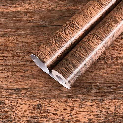 Weiße, graue Ziegeltapete, selbstklebende Kontaktpapier, Heimdekoration, zum Abziehen und Aufkleben, Wandpaneel, Türaufkleber, Weihnachtsdekoration (45 x 300 cm) Brown Wood