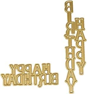 Stencil 2PCS Happy Birthday, ZTY66 Gold Metal Cutting Dies for DIY Scrapbooking Embossing Album Paper Card Craft