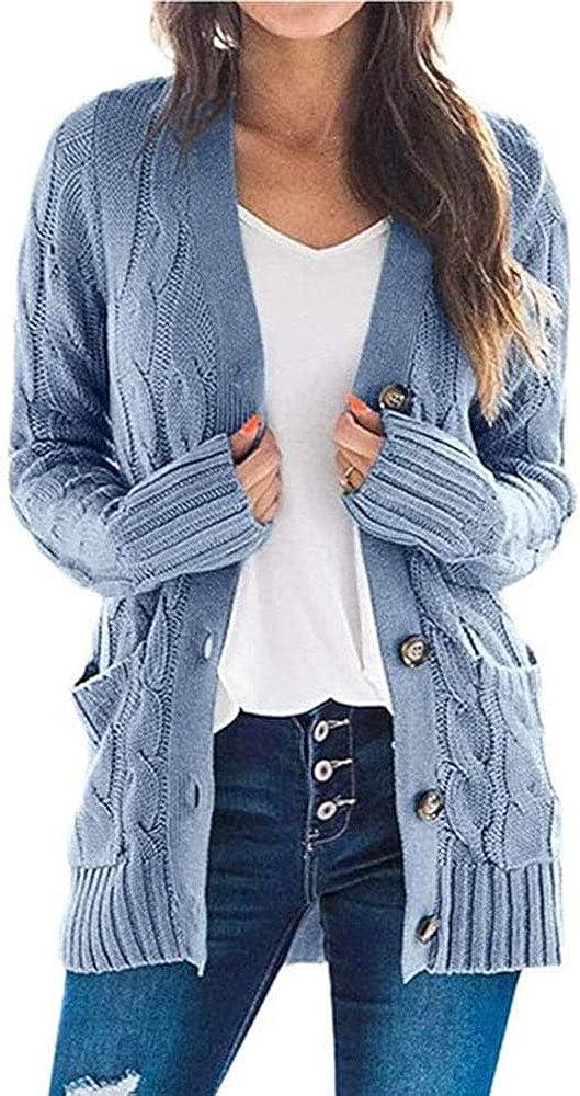 TOJONOZO Women's Open Front Long Sleeve Cardigan Sweater Cable Knit Pocket Button Loose Outwear
