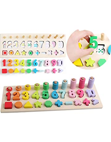 9049cffee10d4 数 パズル 木製 数字 おもちゃ 型はめ 図形 算数 教材 幼児 すうじ ゲーム 積み木 型