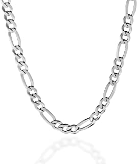 Quadri - Figaro Link Chain 7 mm in 925 Sterling Silver Italian Necklace for Men Women Boys Girls - 10 to 30 Inch - Premium...