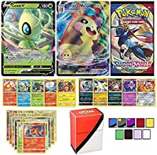 Totem World Pokemon V & VMAX Cards Guaranteed with Booster Pack, 5 Rare Cards, 5 Holo/Reverse Holo Cards, 20 Regular Pokemon Cards and Totem Deck Box
