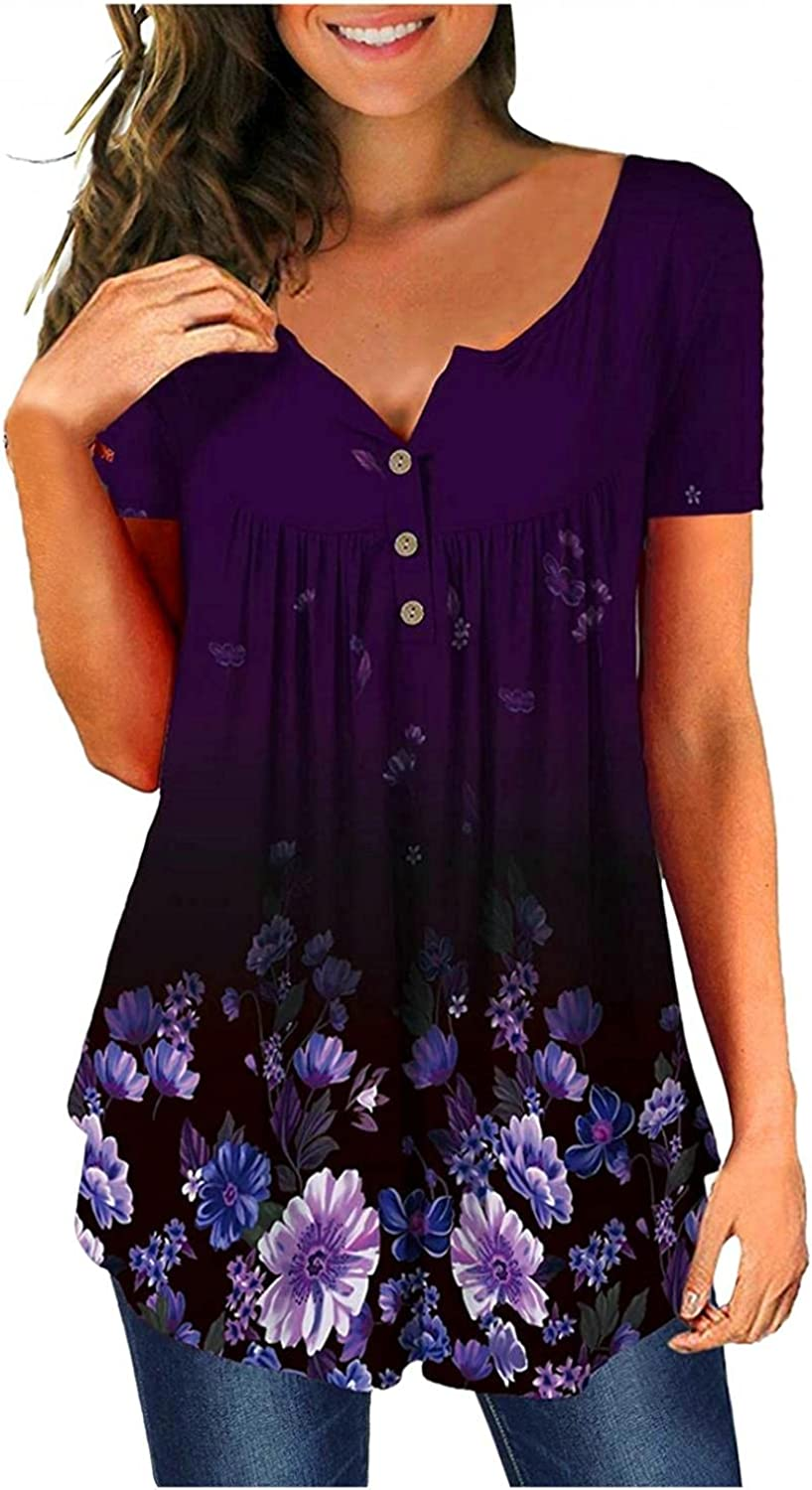 xoxing Womens Tops Casual V Neck Floral Printed Tunic Tops Summer Plus Size Buttons Short Sleeve Loose T-Shirts Blouse